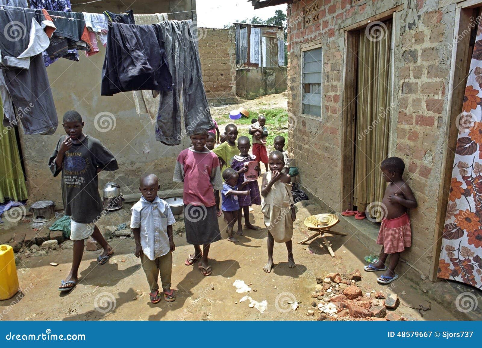 Playing Ugandan Children In A Slum In Kampala Editorial