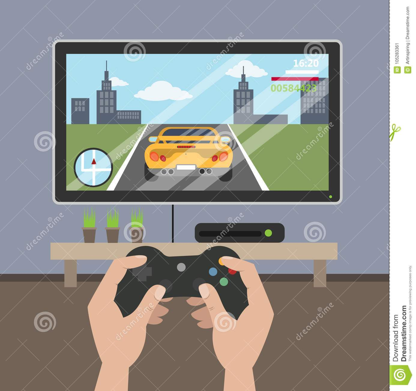 Playing videogame on tv  stock vector  Illustration of
