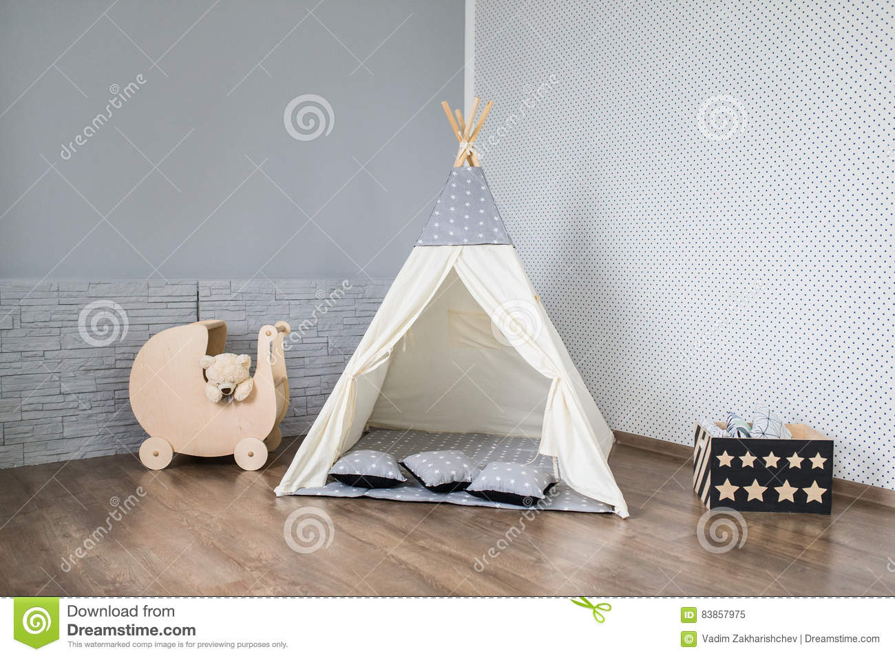 finest selection baf6c ccdfe Playroom with Teepee stock image. Image of furniture - 83857975