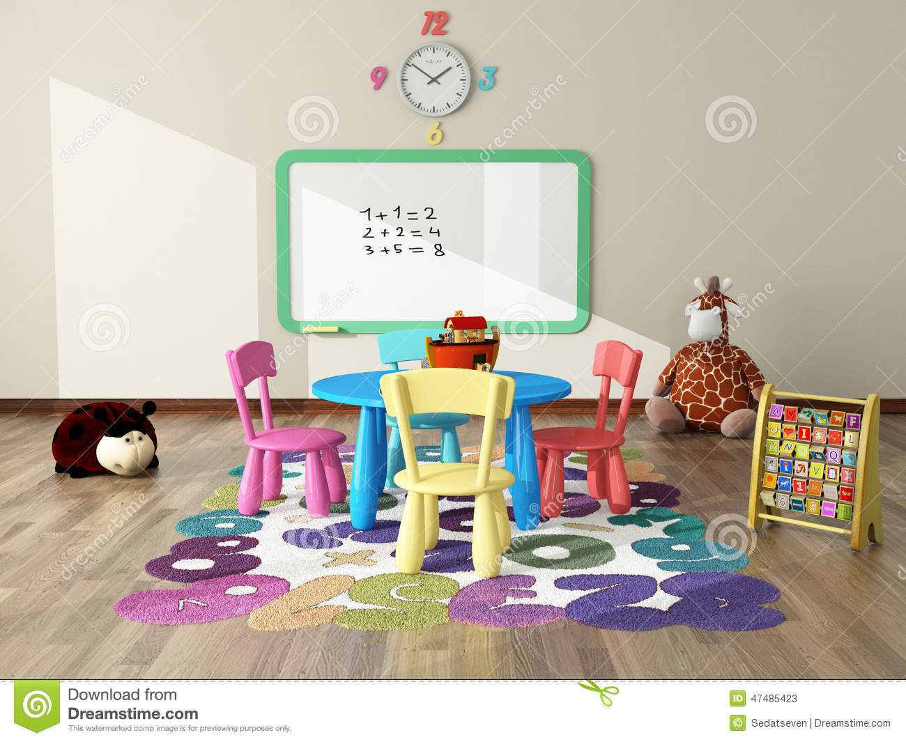 Playroom with toys and plush stock illustration image for Animal room decoration games