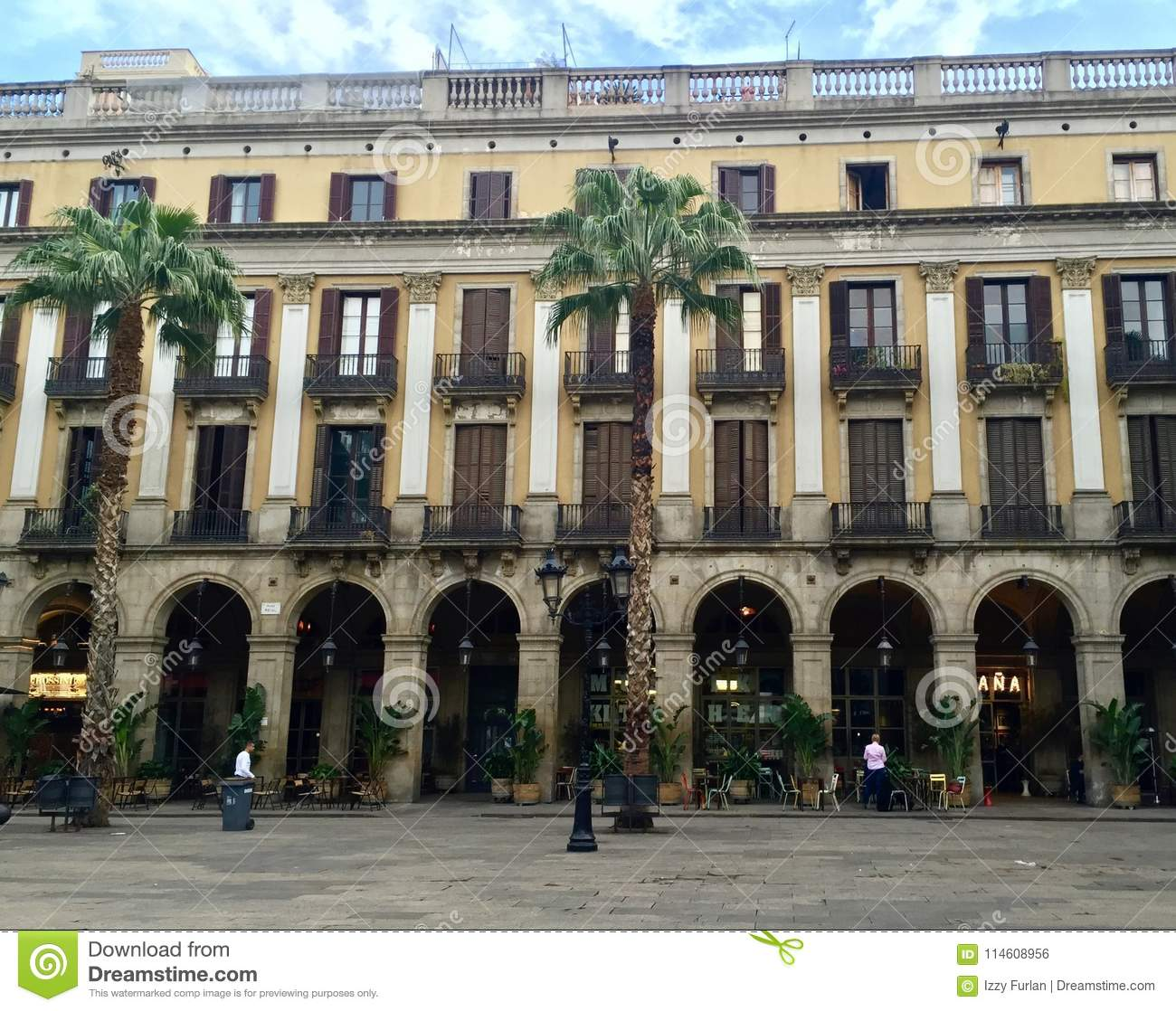 A Plaza In The Center Of Barcelona City Editorial Photo