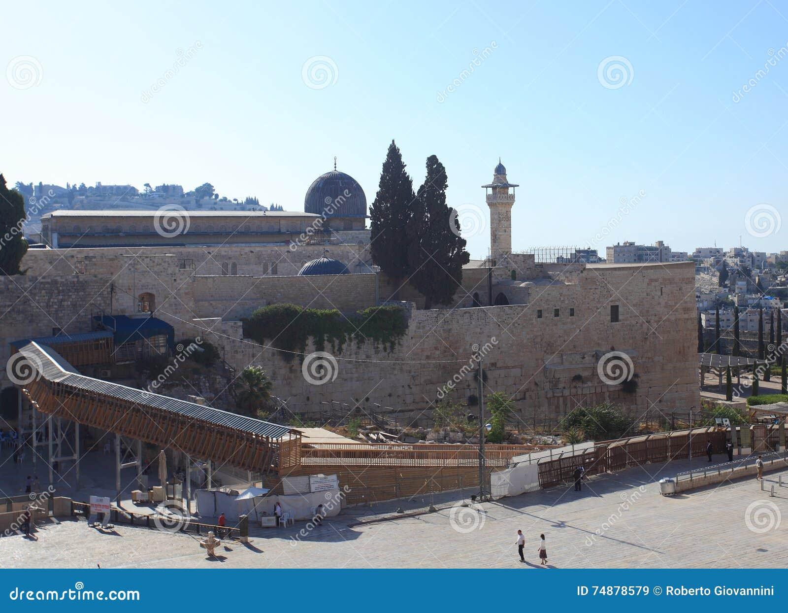 Plaza da parede & mesquita ocidentais do al-Aqsa