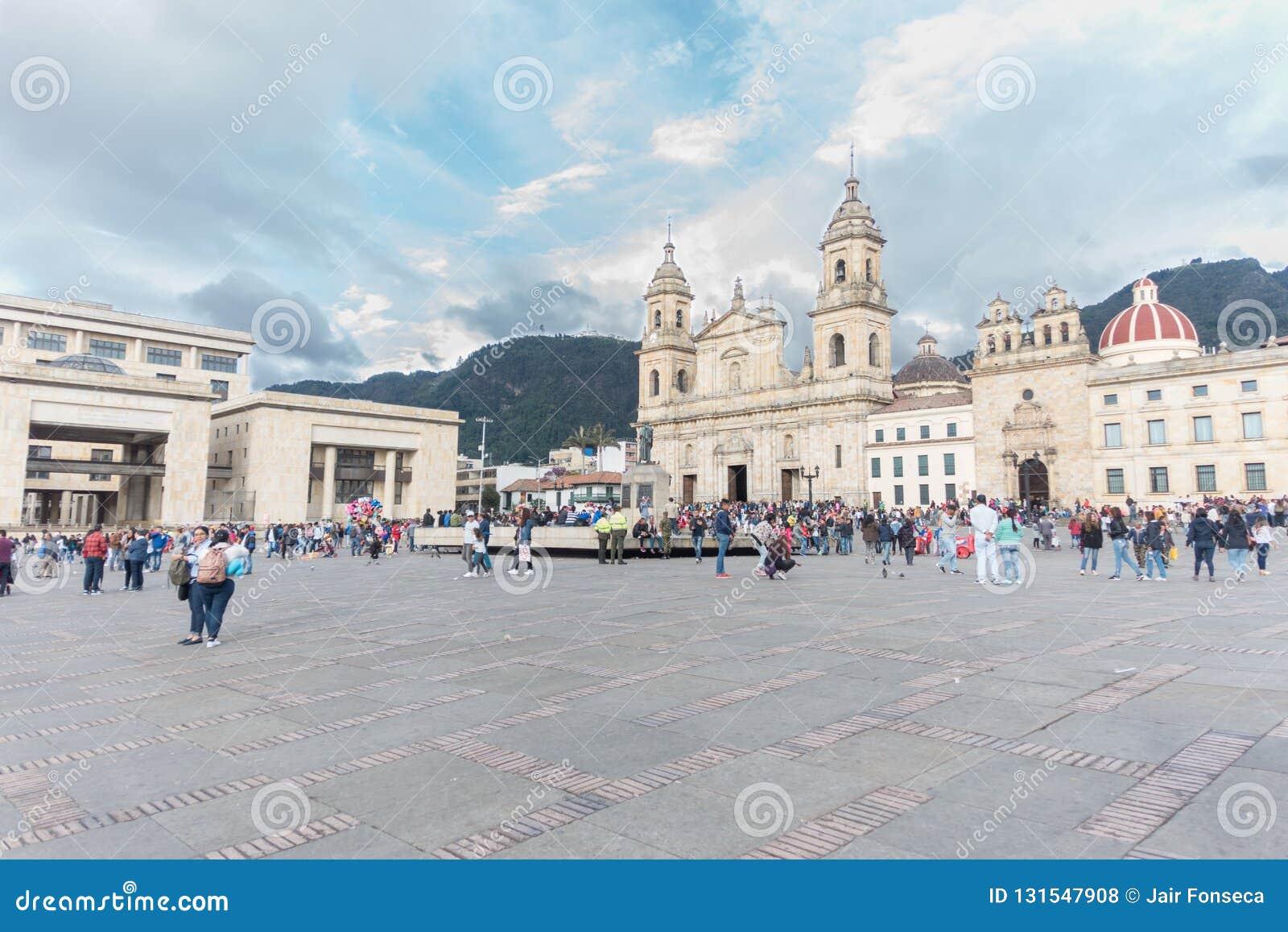 Plaza DE Bolivar en de Kathedraal van Bogota