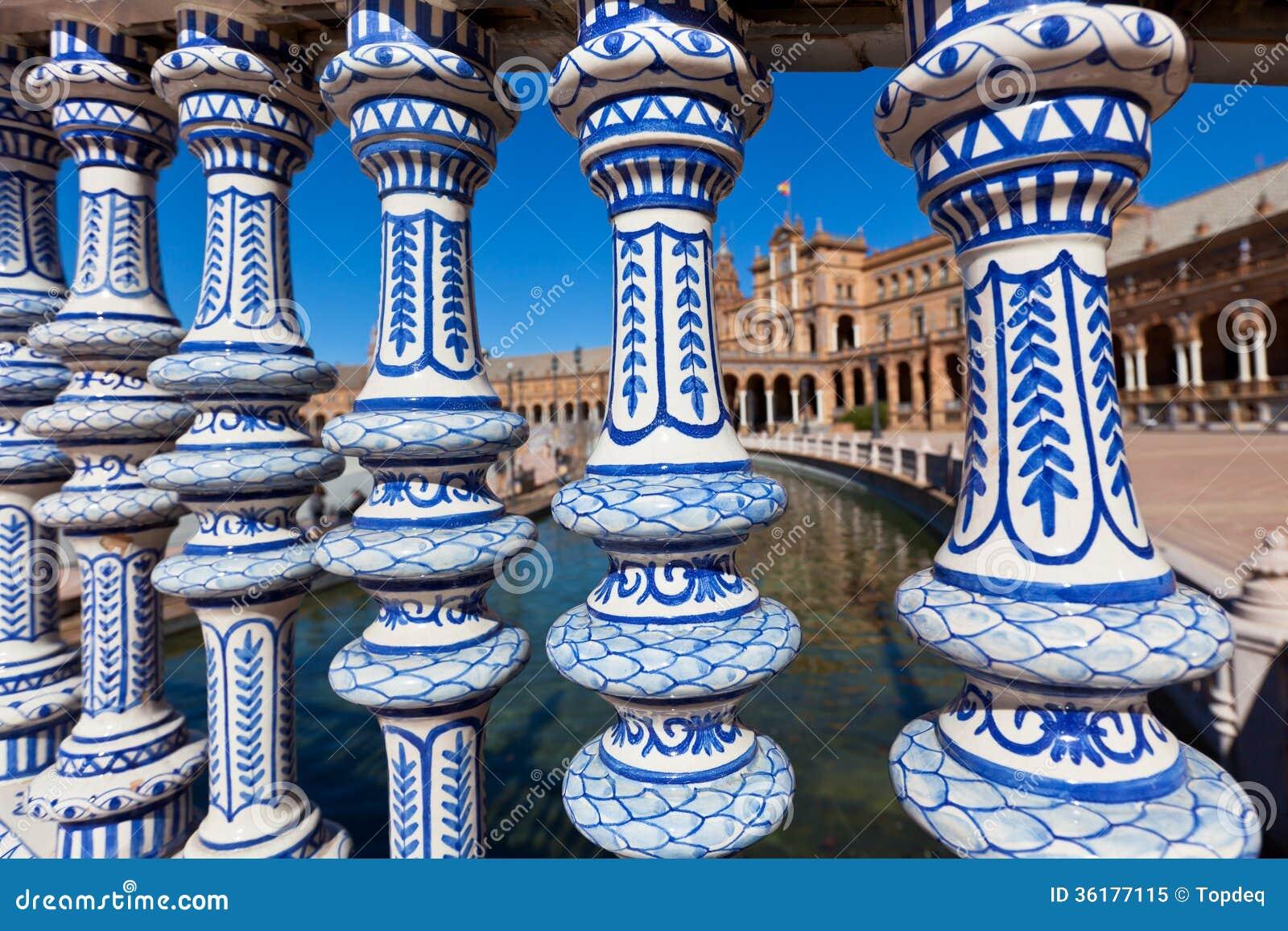 Plaza de Espana Balustrad detalj, Sevilla, Spanien