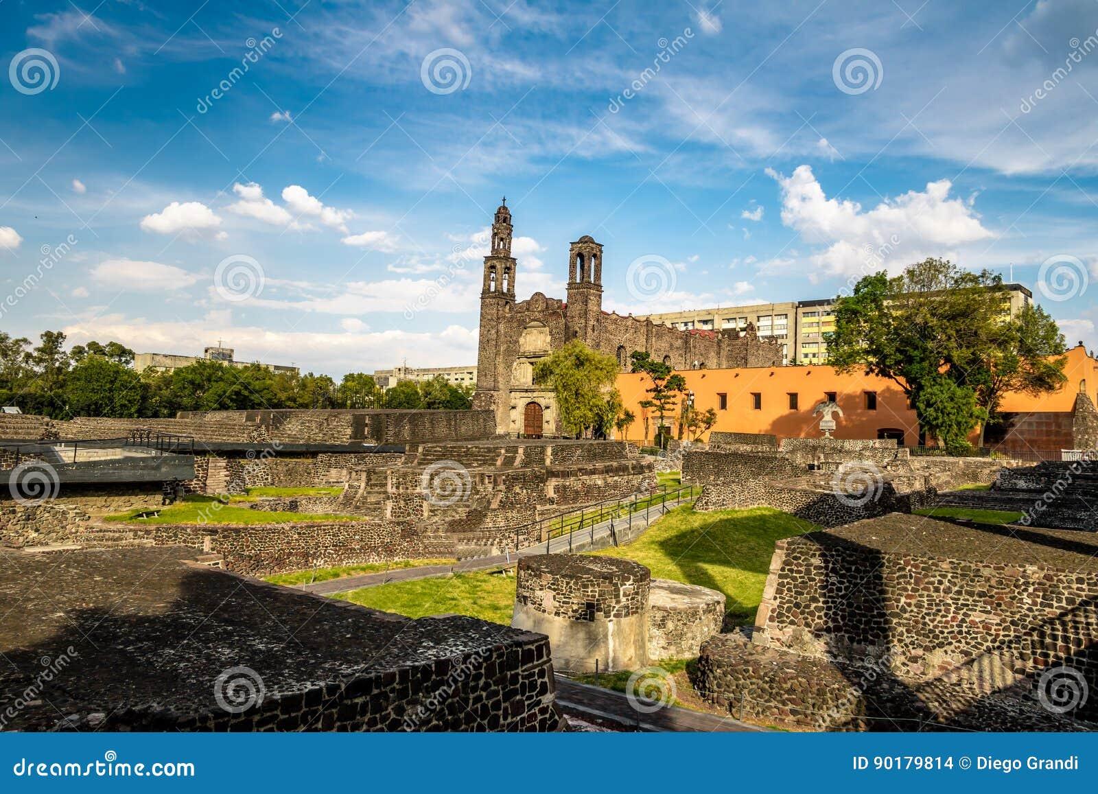 Plaza de las Tres Culturas三在特拉特洛尔科-墨西哥城,墨西哥开化正方形
