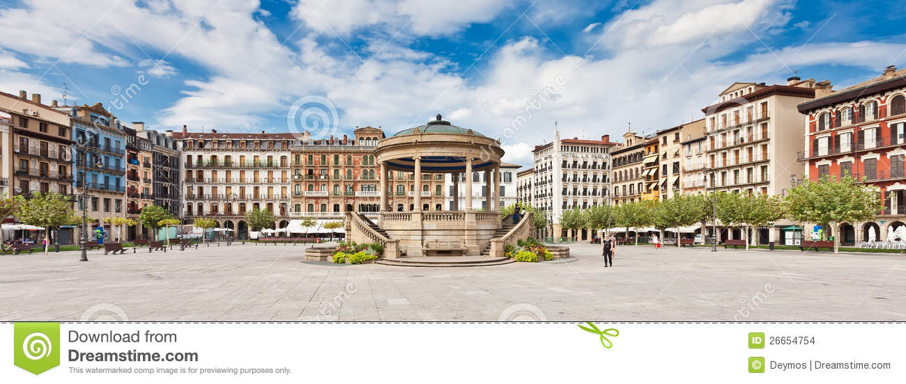 Plaza del Castillo in Pamplona, Spain