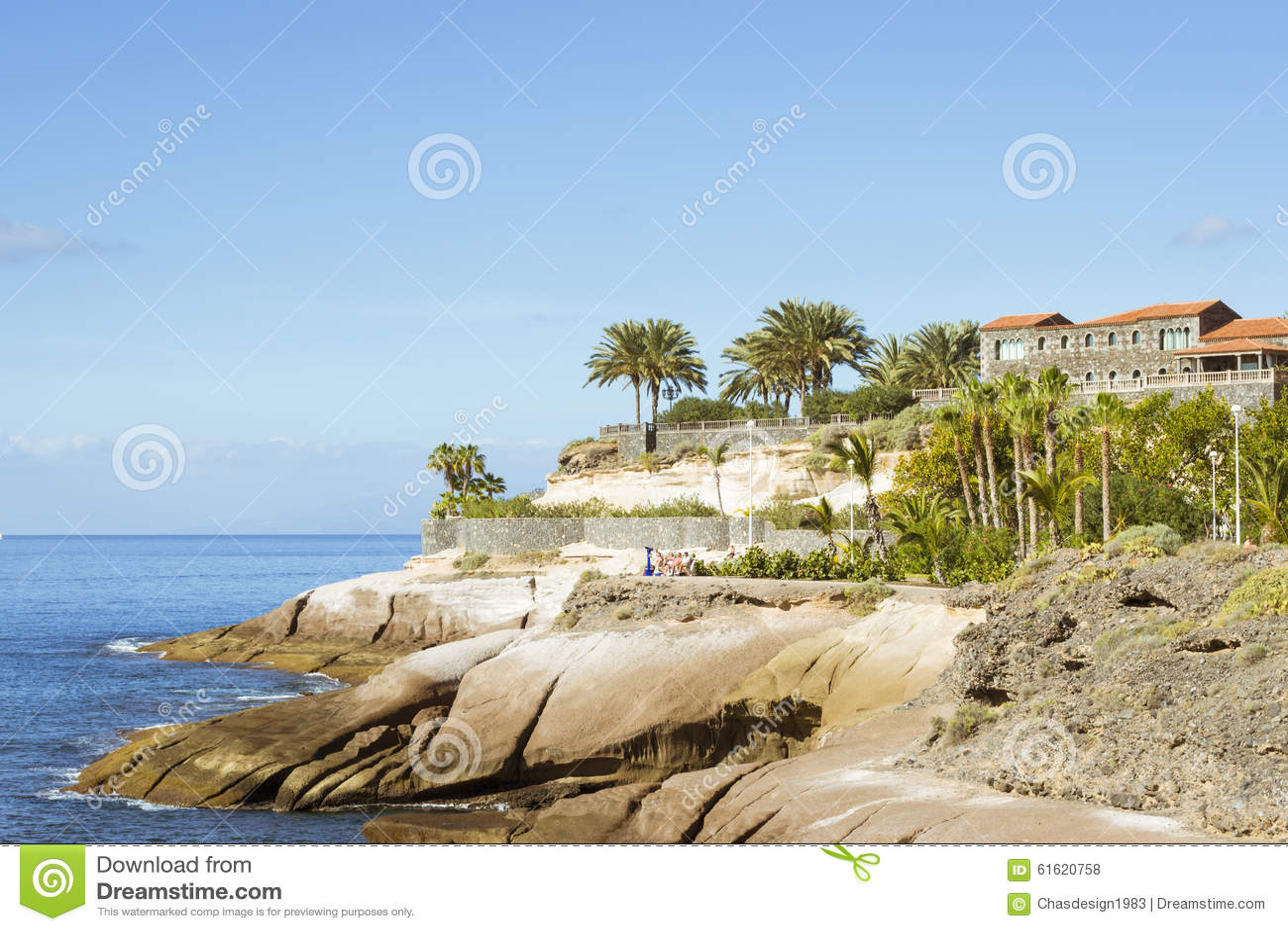 Plaza Playa Del Duque, Duke Castle, Costa Adeje, Tenerife, Spain Stock Photo ...