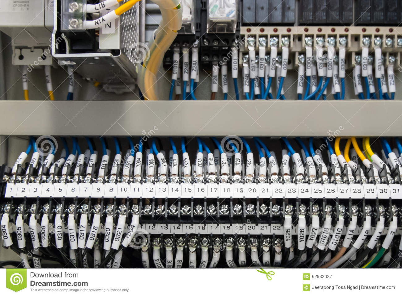 Stock Photo Plc Control Terminal Wiring Panel Wires Industrial Factory Image62932437 on electronic relay label