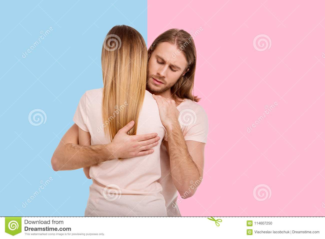Pleasant Man Holding His Girlfriend Tight Stock Photo Image Of