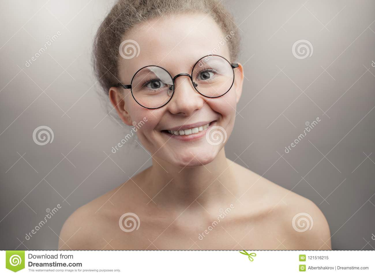 Nude wife wearing glasses