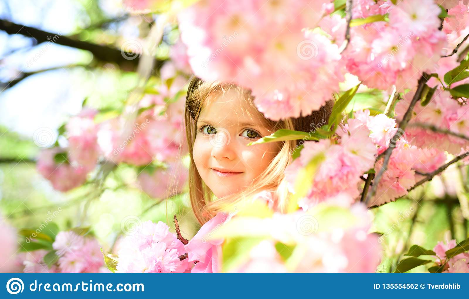 Pleasant spring day. Small child. Natural beauty. Childrens day. Summer girl fashion. Happy childhood. face and skincare