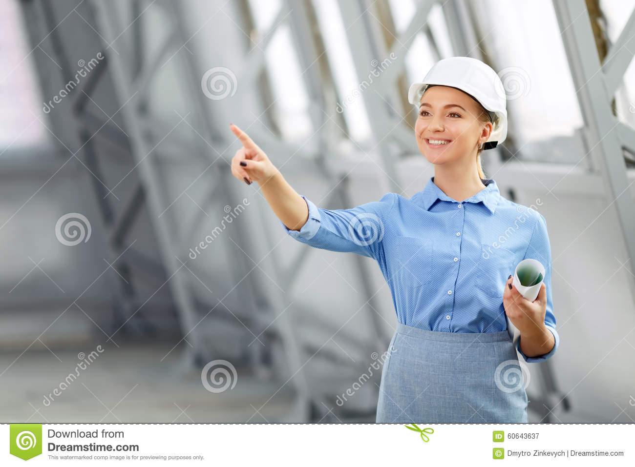 Pleasant woman architect at work