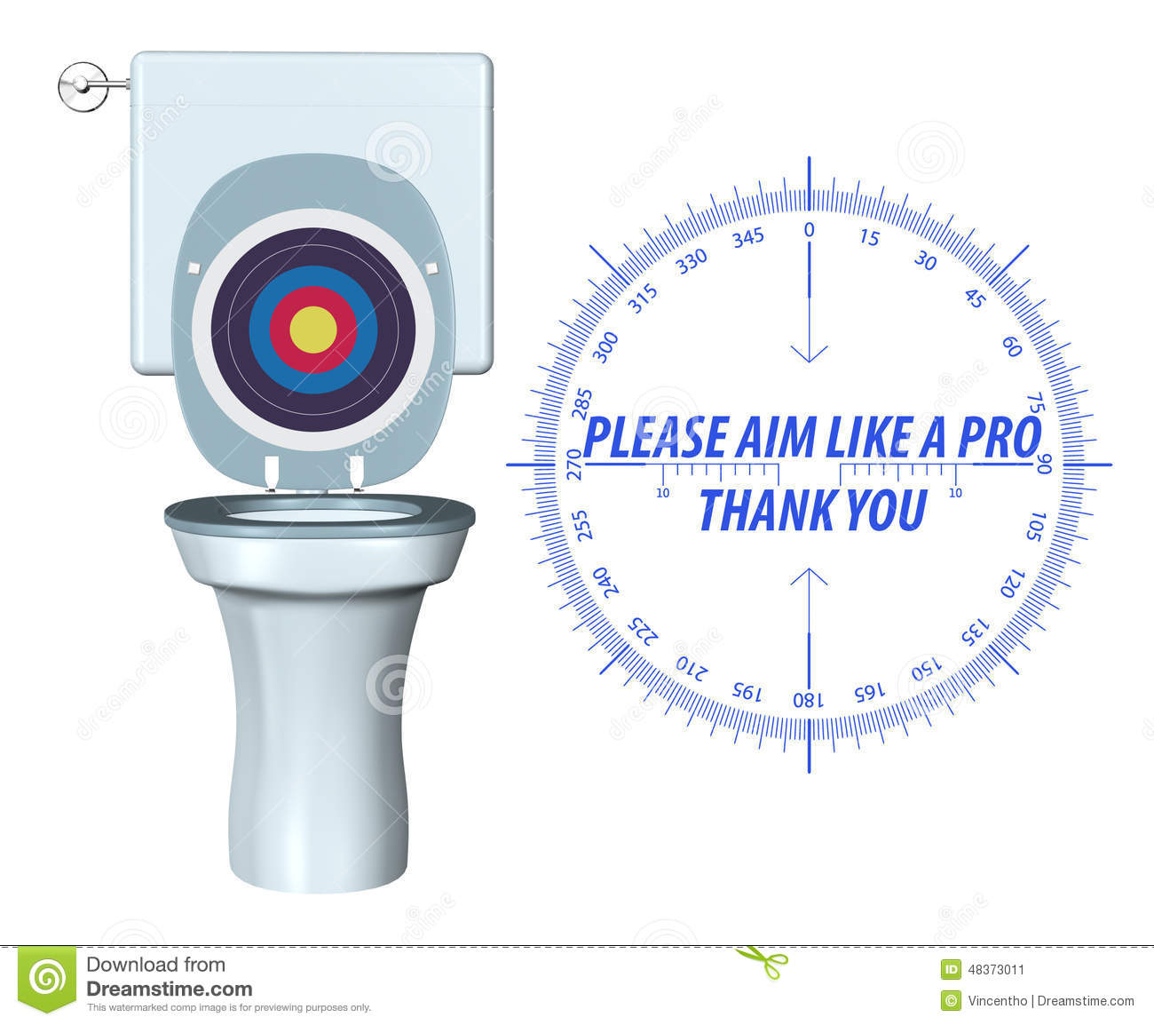 Please Aim Accurately Toilet Hygiene Sign Illustration