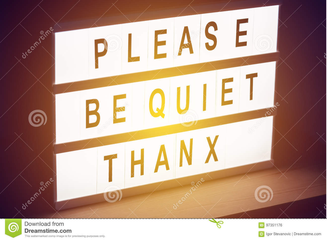 please be quiet thanx message sign stock photo image of quiet