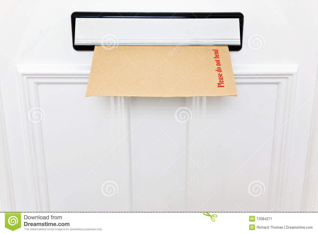Please Do Not Bend Envelope In A Letterbox Stock Image Image Of