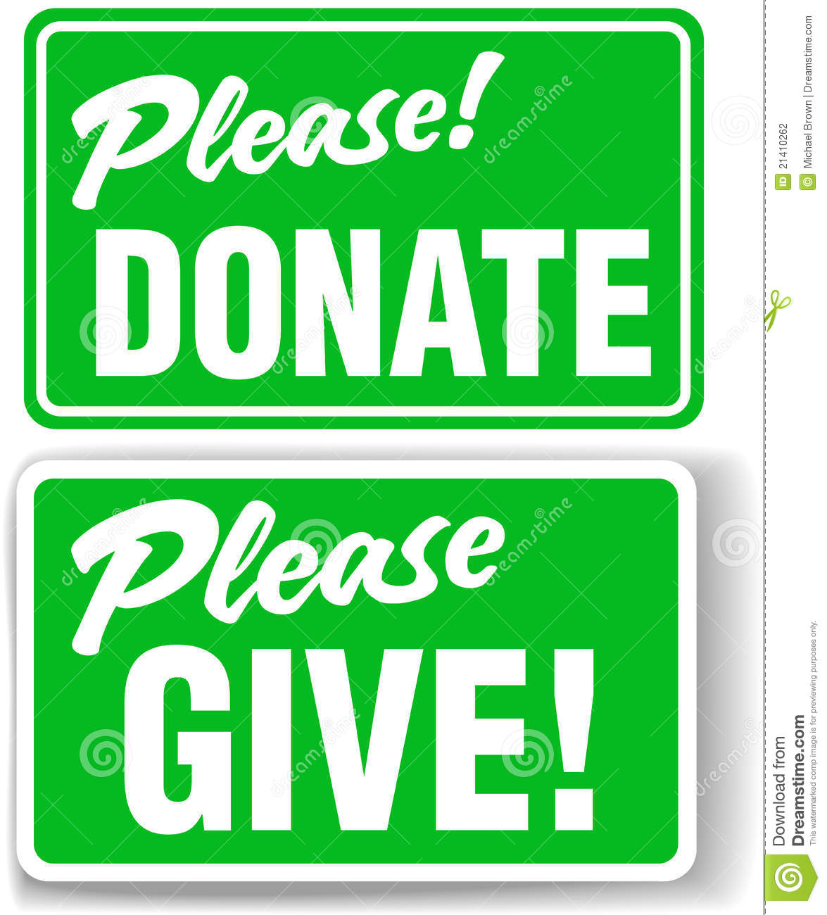 Please Donate And Give Green Sign Set Stock Vector - Image ...