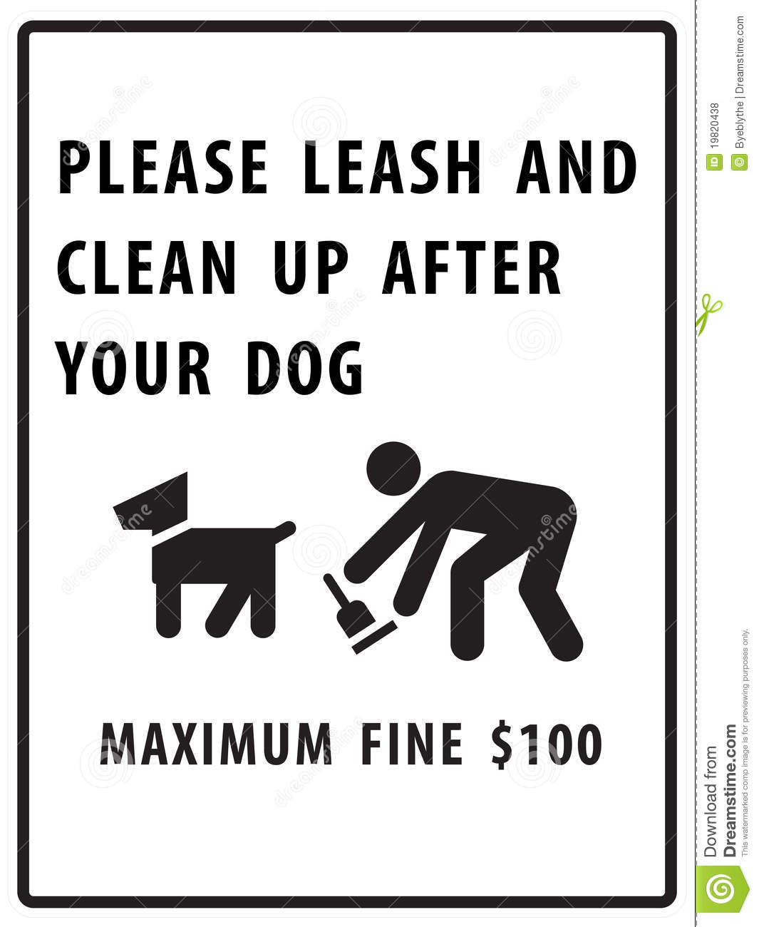 Please Leash And Clean Up After Your Dog Sign Royalty Free ...