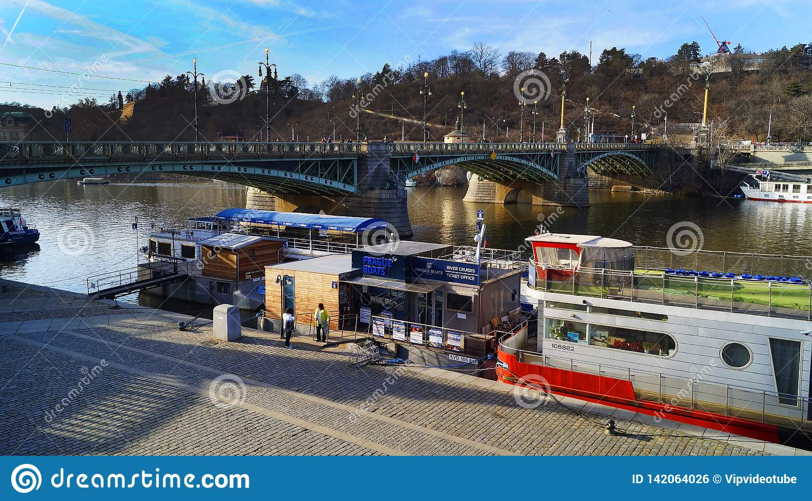 Pleasure boats parked on the Vltava pier in Prague