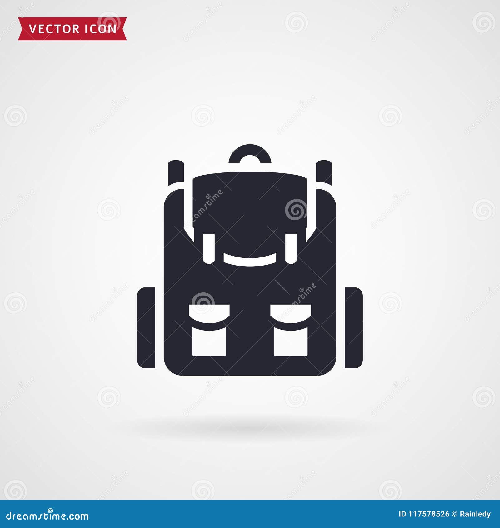Plecak ikona Szkolny lub podróż wektoru symbol