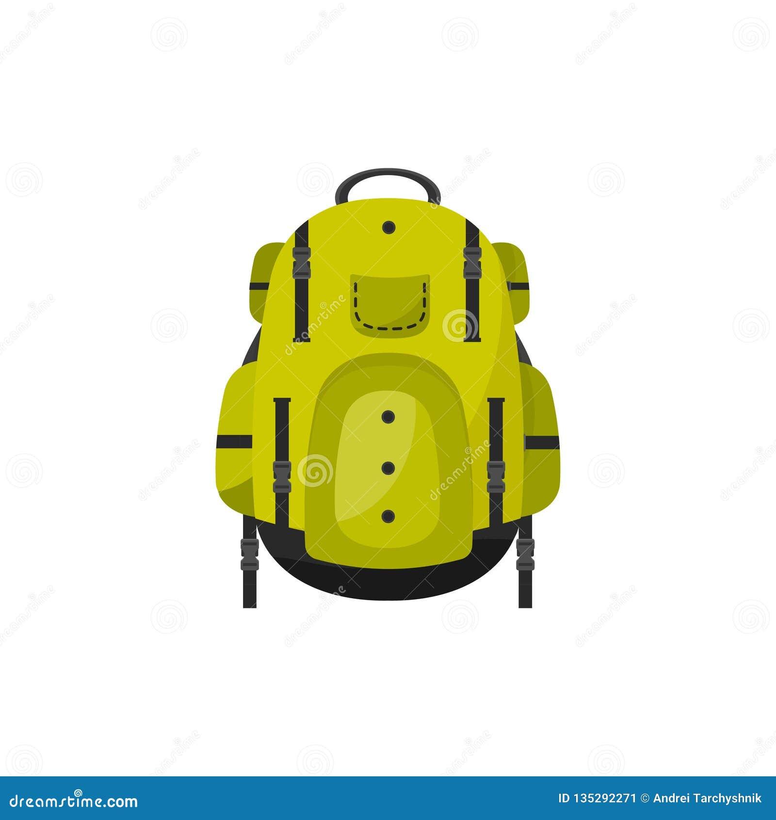 Plecak w płaskim stylu również zwrócić corel ilustracji wektora tła torby błękitny latanie opuszczać klon szkoły Podróż, camping