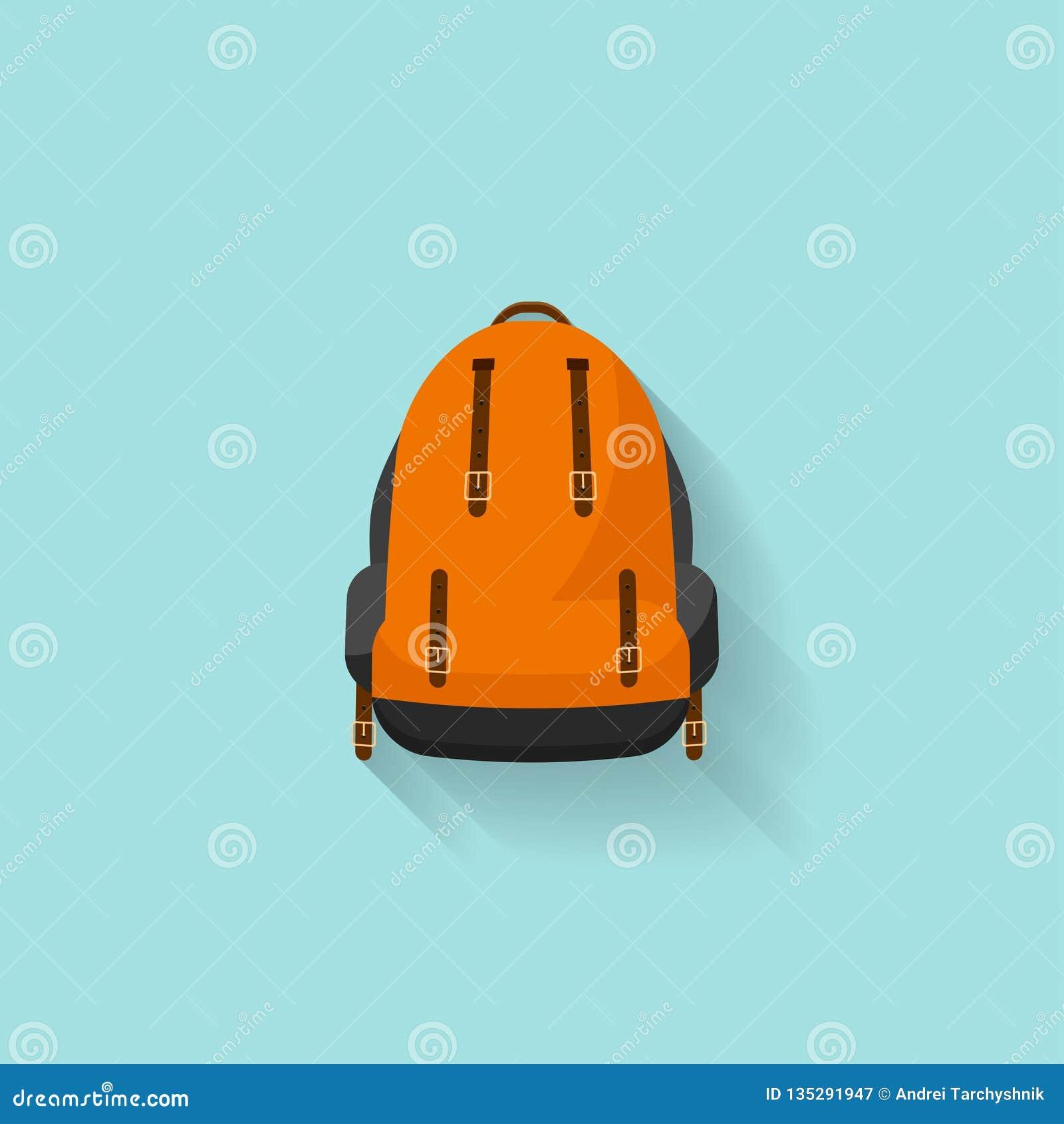 Plecak w płaskim stzle również zwrócić corel ilustracji wektora tła torby błękitny latanie opuszczać klon szkoły Podróż, camping