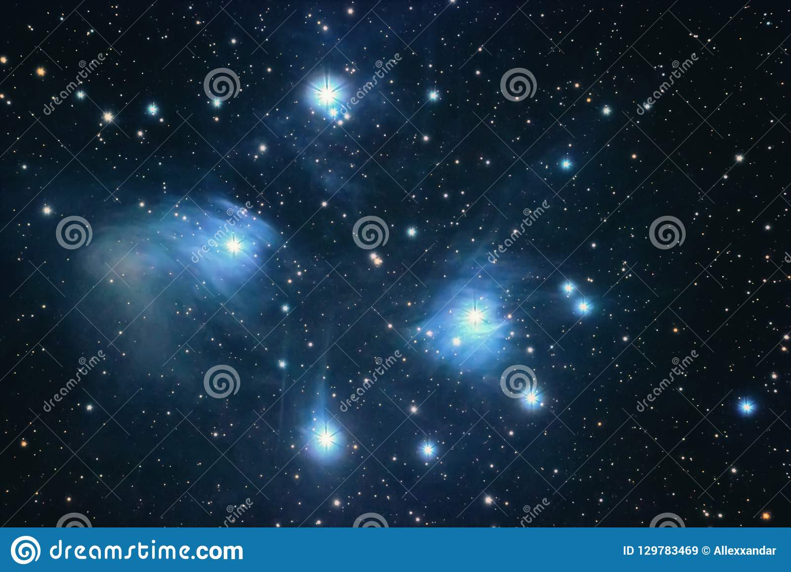 The Pleiades Reflection Nebula In The Constellation Of