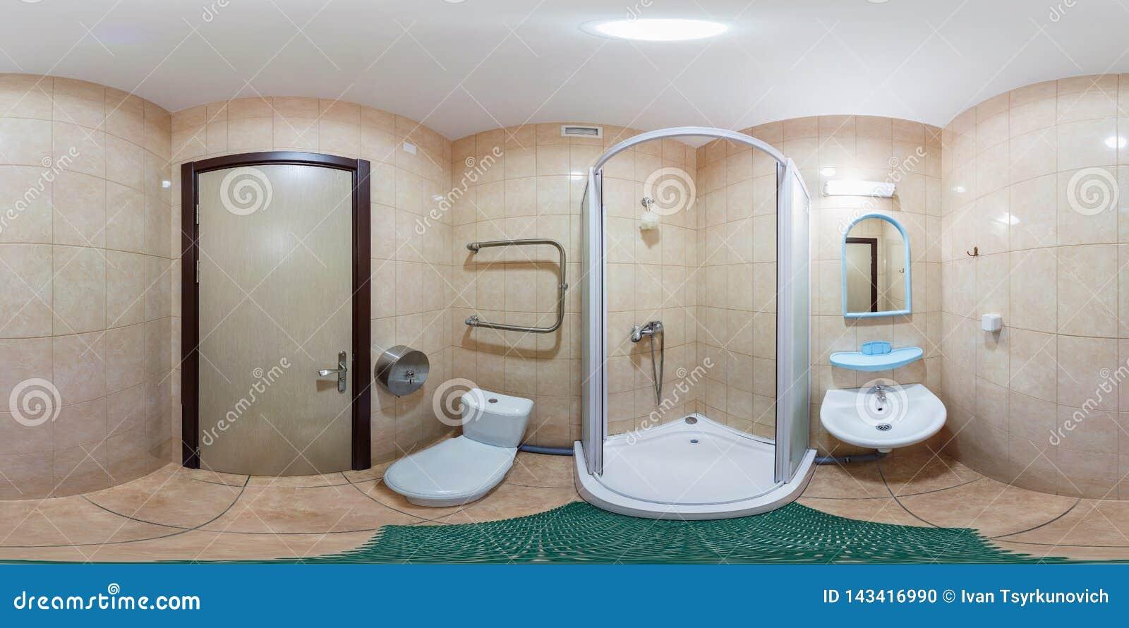 Plein panorama sans couture d angle de 360 degrés à l intérieur de l intérieur de la salle de bains blanche vide dans le style mi