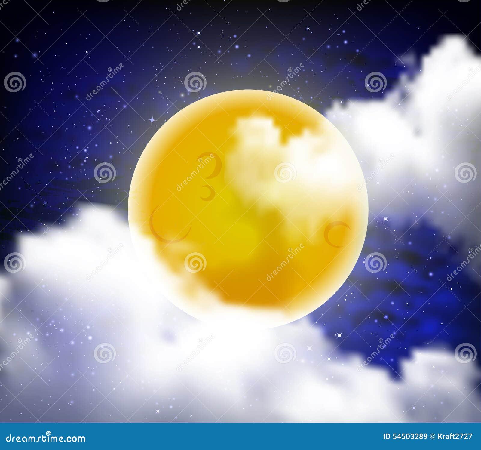 pleine lune avec des nuages au ciel toil de nuit illustration stock image 54503289. Black Bedroom Furniture Sets. Home Design Ideas
