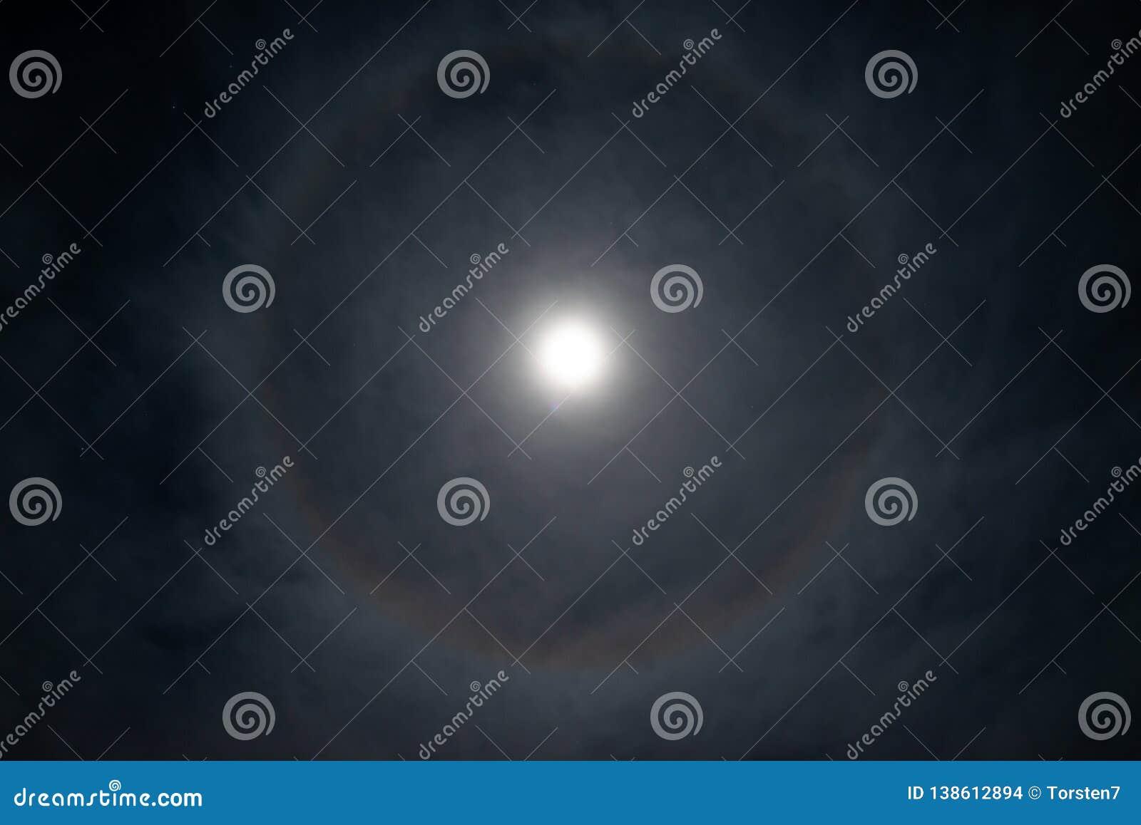 Pleine lune avec le halo de forme annulaire
