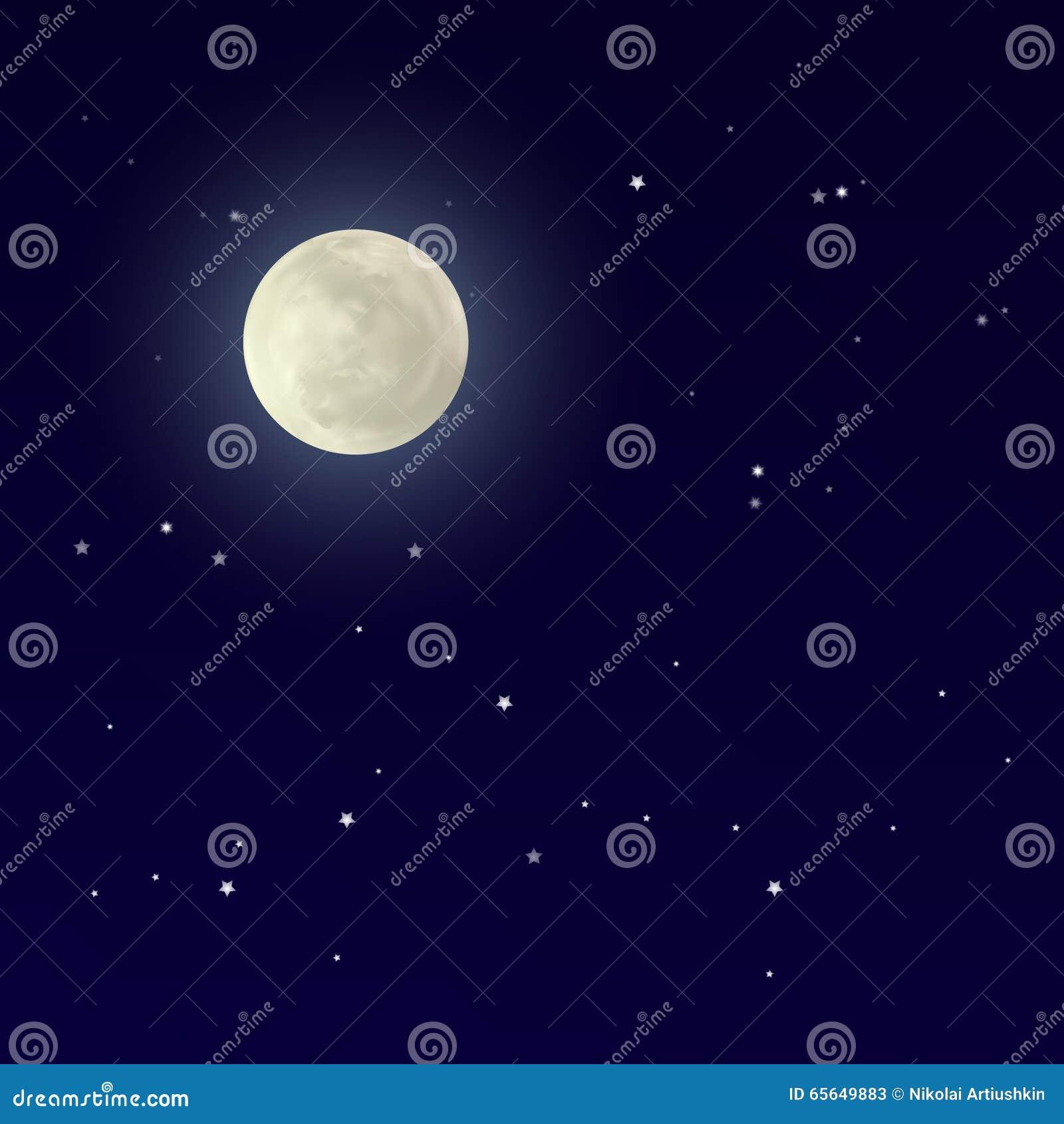 Pleine lune brillante réaliste dans le ciel bleu-foncé
