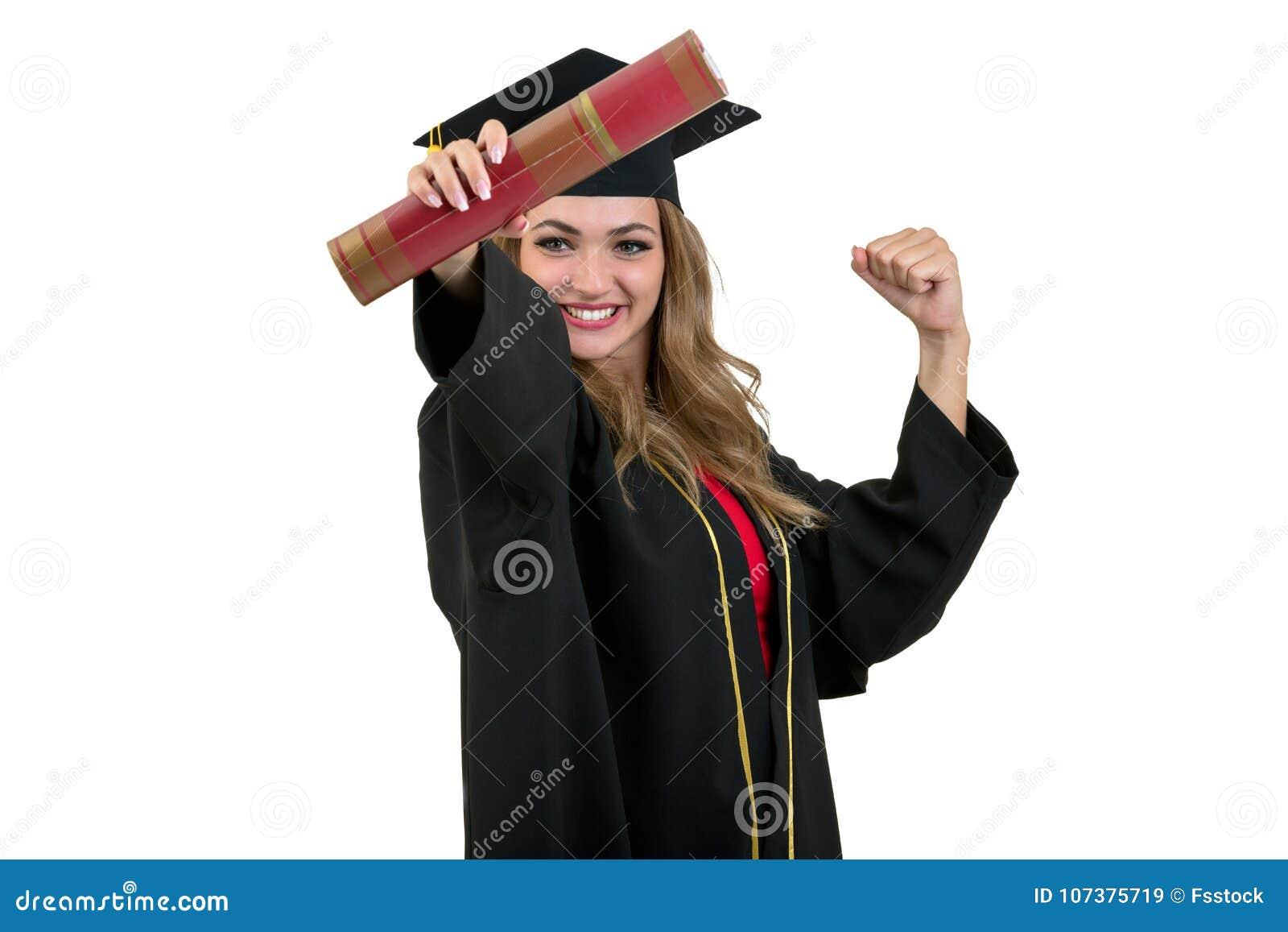 Pleine photo d isolement de studio d une jeune femme d obtention du diplôme