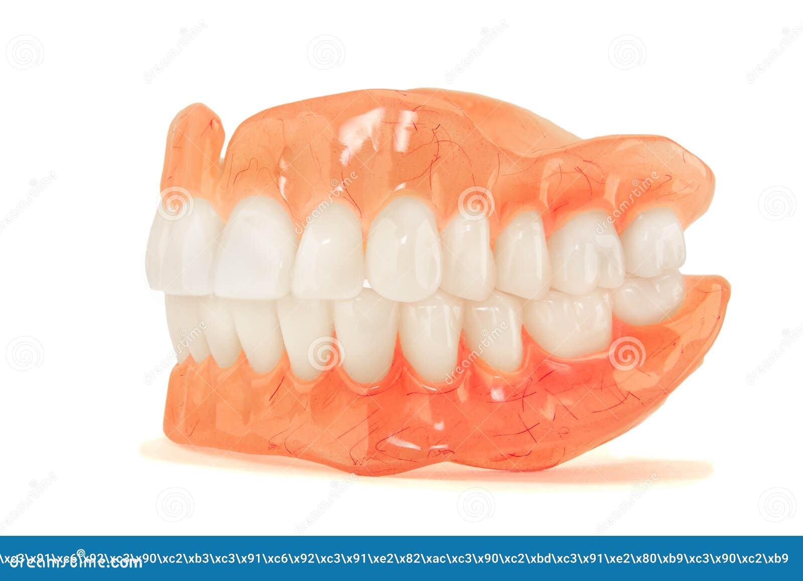 Pleins dentiers de dentier en gros plan Art dentaire orthopédique avec nous