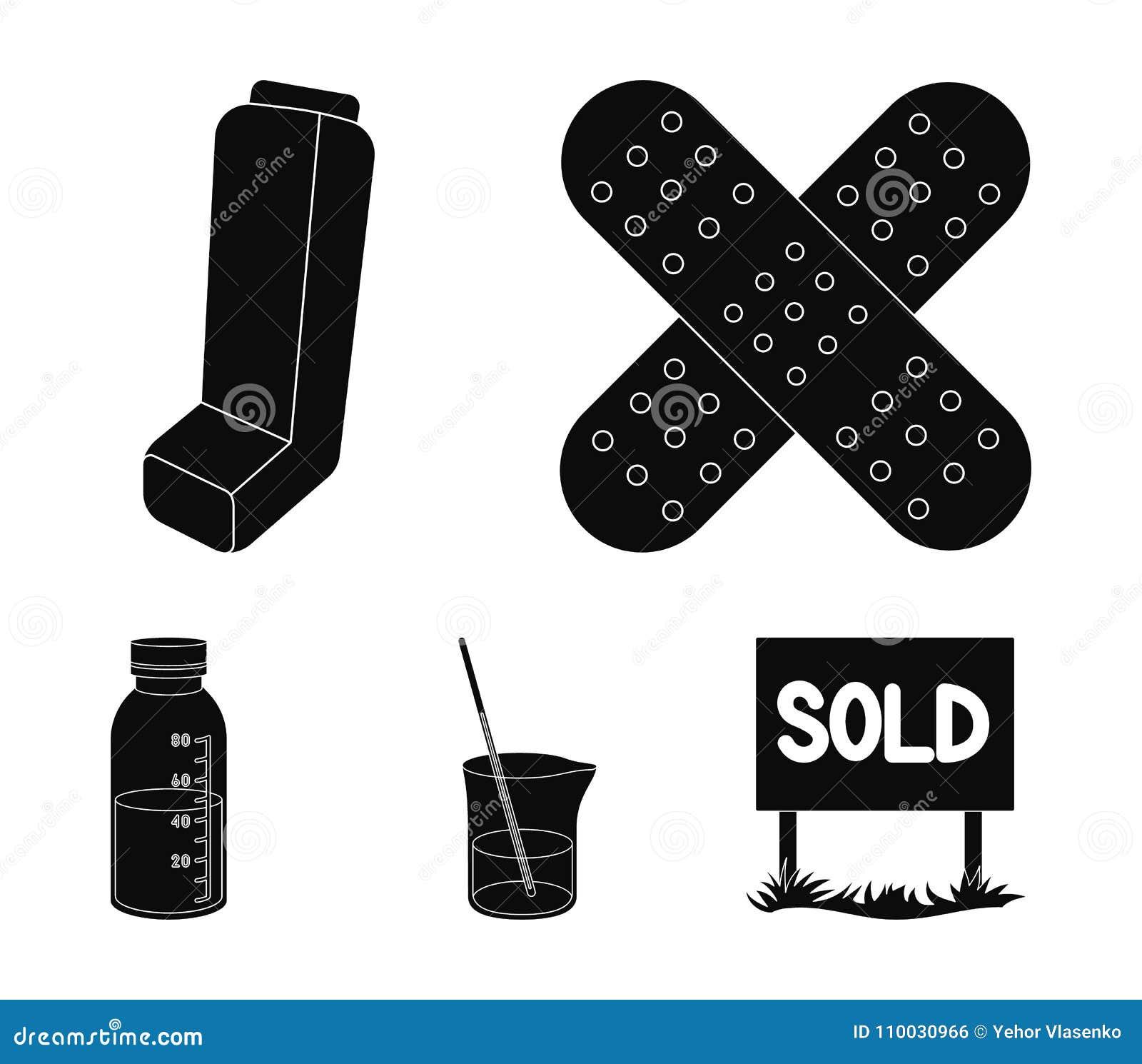 Pleister, inhaleertoestel, oplossing in een glas Pictogrammen van de Mtdicine de vastgestelde inzameling in het zwarte Web van de