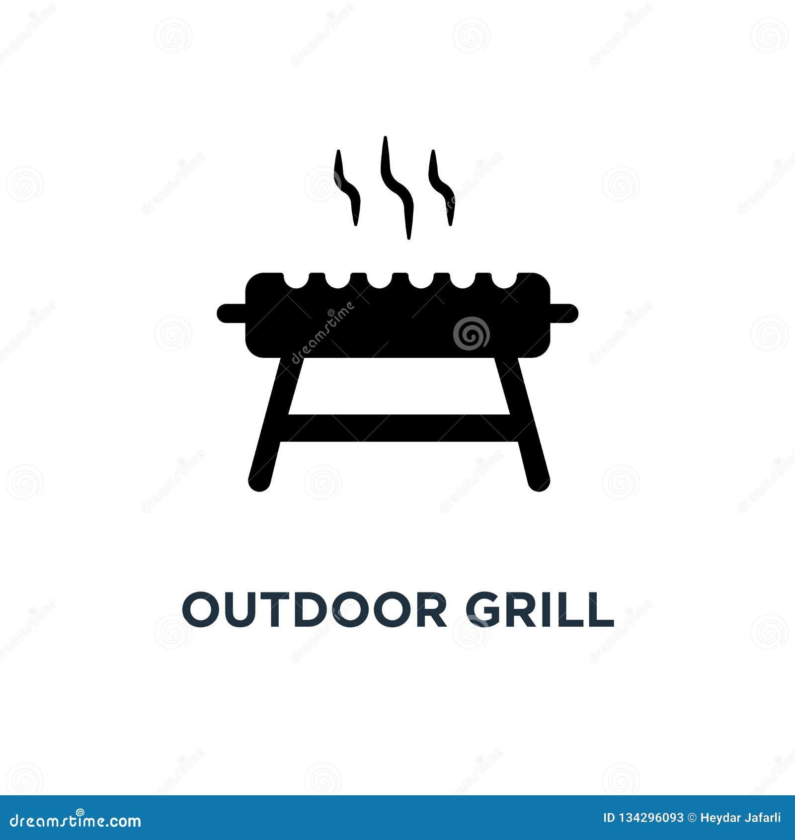 Plenerowa grill ikona Prosta element ilustracja Plenerowy grill c