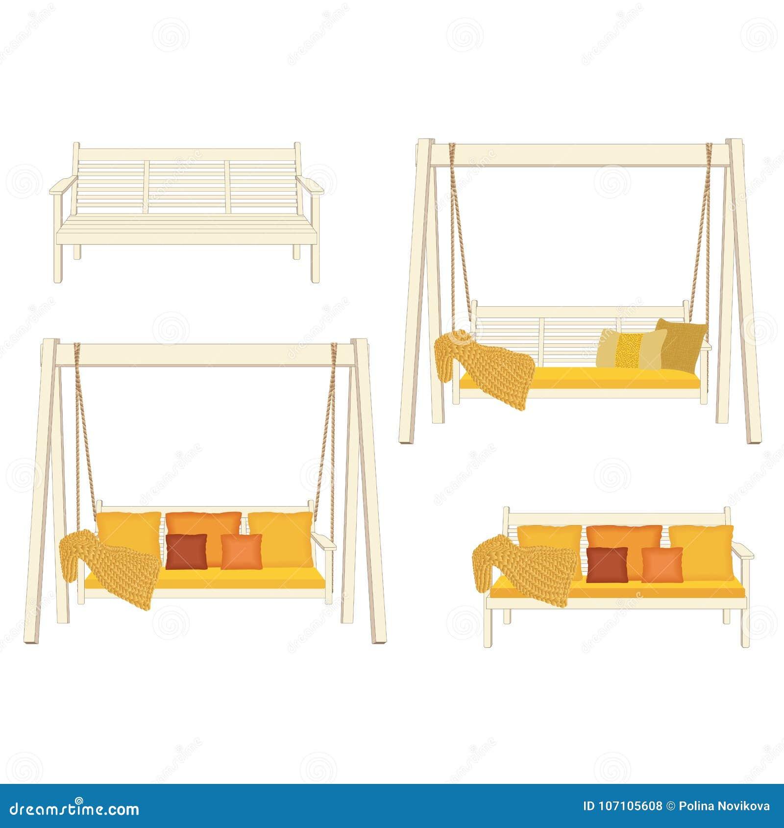 Plenerowa klasyczna drewniana huśtawka i ławka malujący na białym kolorze, Ogród relaksuje meble, ilustracja na białym tle