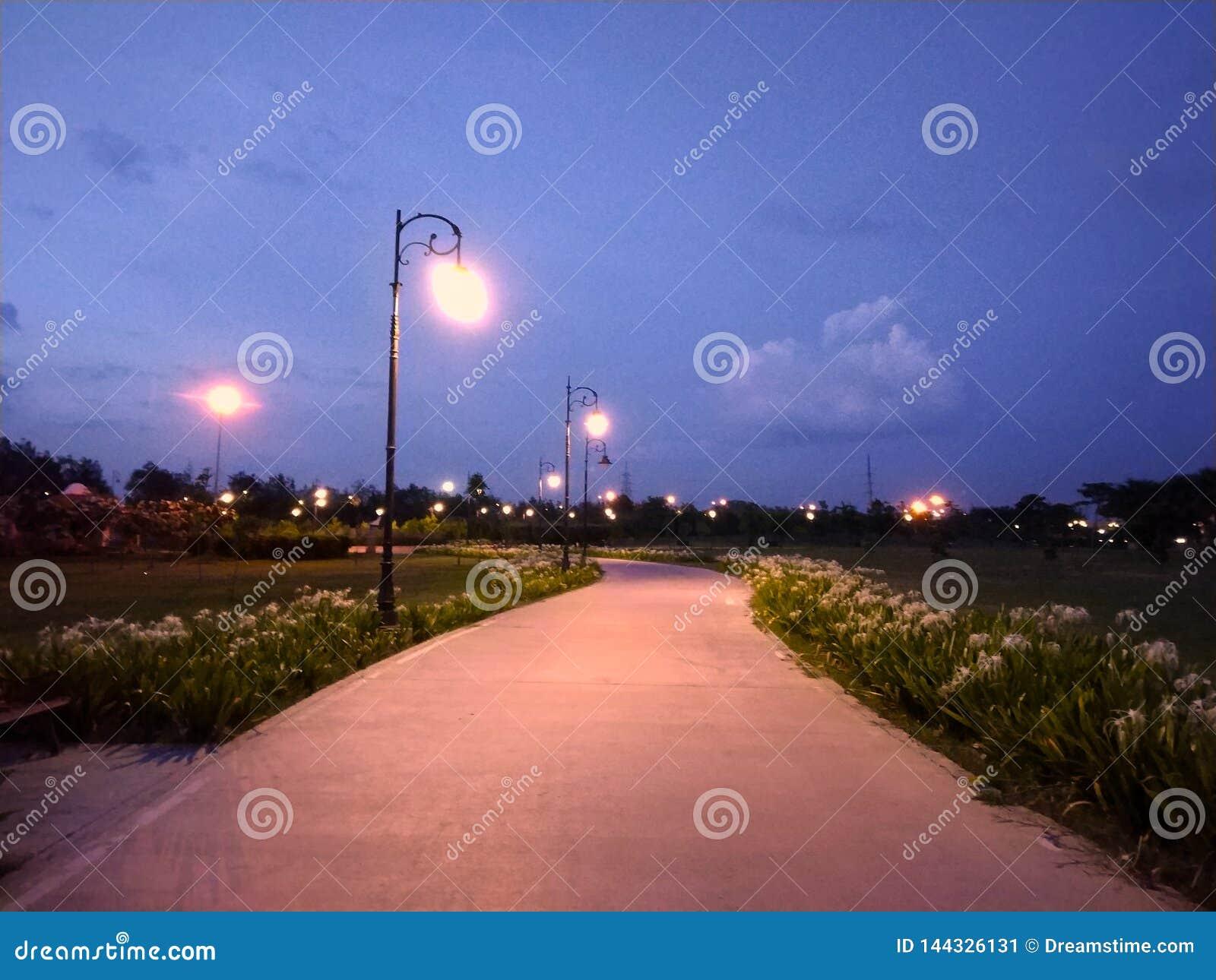 Plenerowy park z latarni ulicznej i ścieżki sposobem