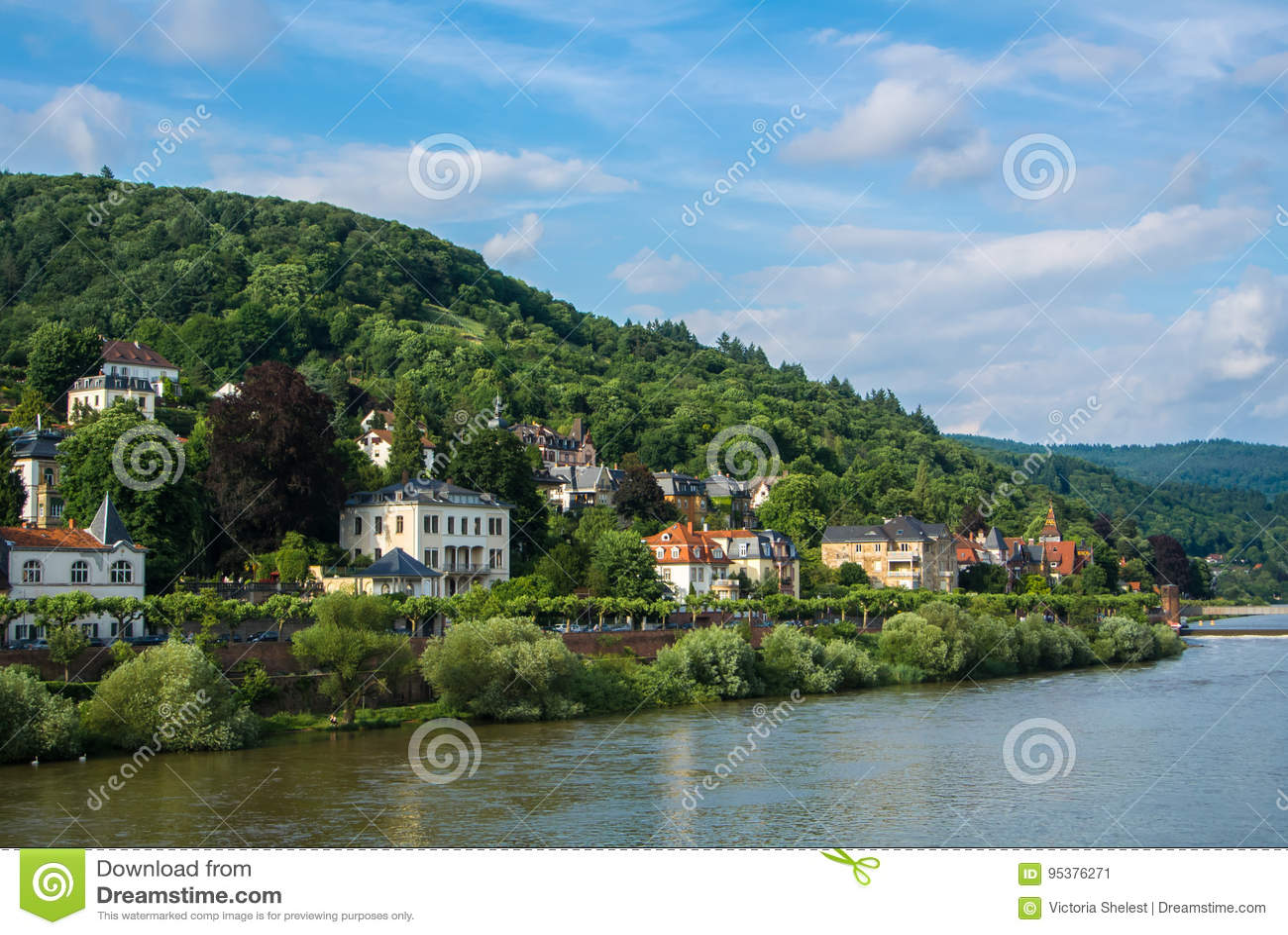Plenty of residential houses at the hillside at the embankment of Neckar river at the center of Heidelberg
