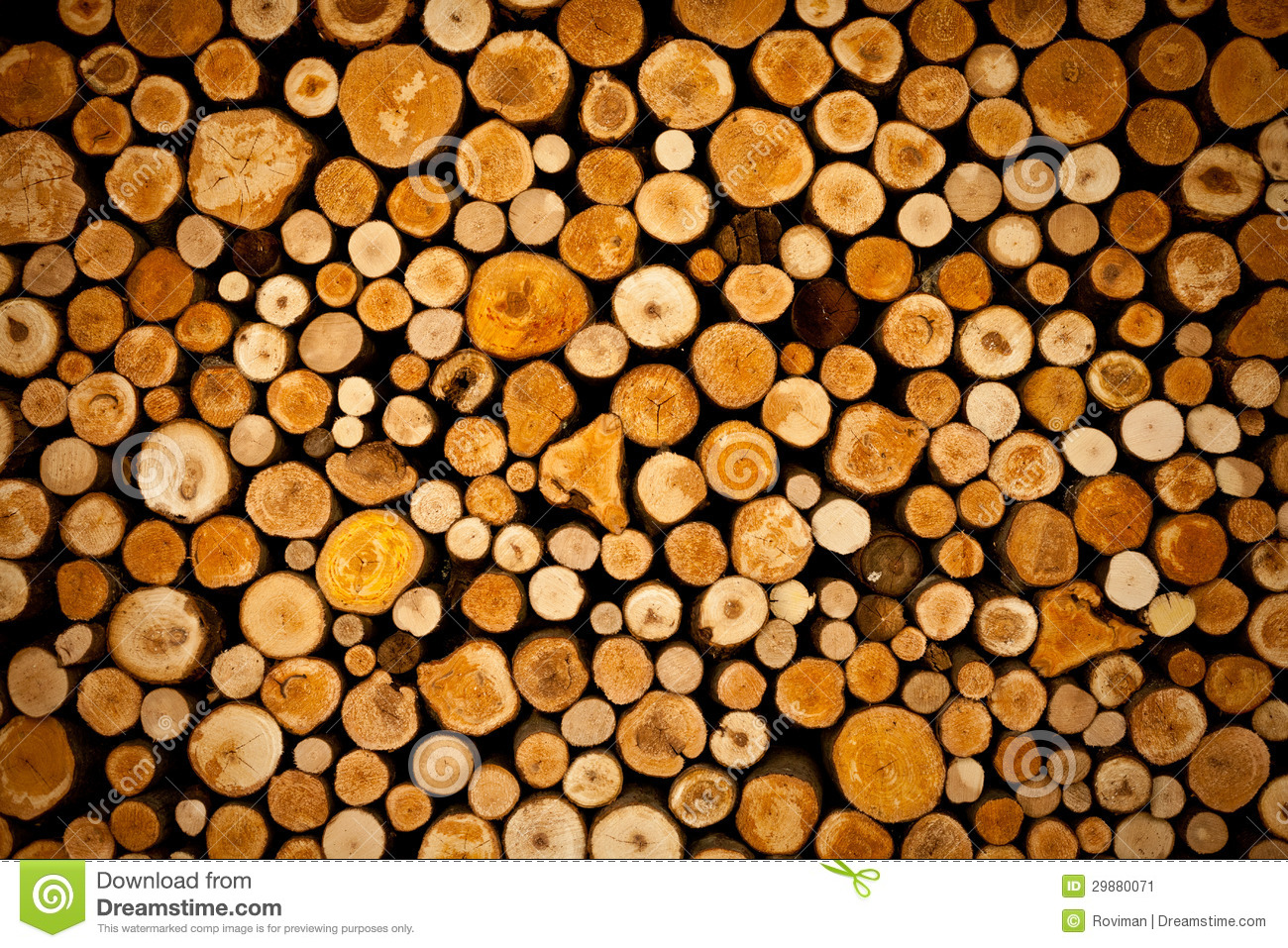 Photo about Plenty of wood prepared for the winter in pile. Image of material