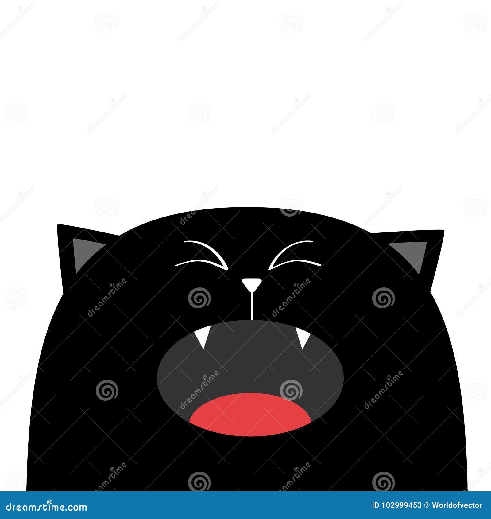 Pleurer Criard De Silhouette De Tete De Visage De Chat Noir