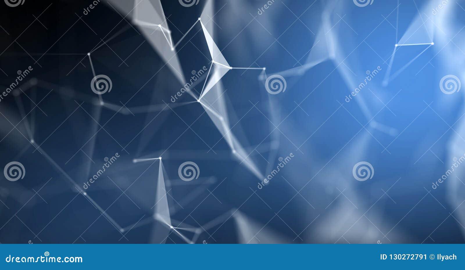 Plexus abstrakcjonistyczny tło, 3D lekkiej technologii geometryczny wireframe Błękitna wielobok struktura z liniami i kropki podł