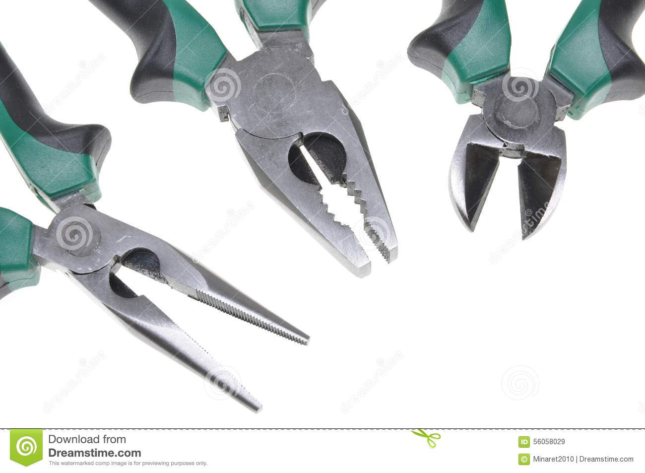 Pliers tools for electrician isolated