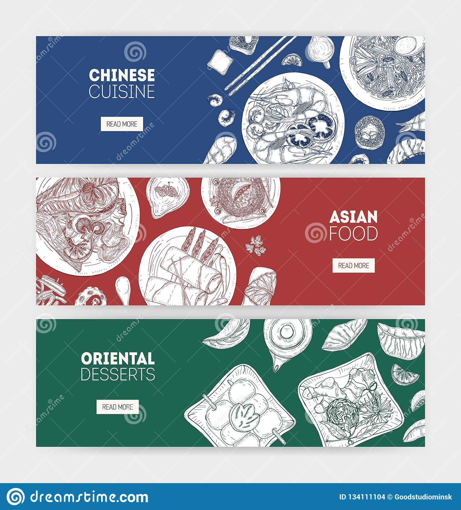 Plik monochromatyczni horyzontalni sieć sztandary z Azjatyckimi kuchnia posiłkami kłama na talerzach wręcza patroszonego z kontur