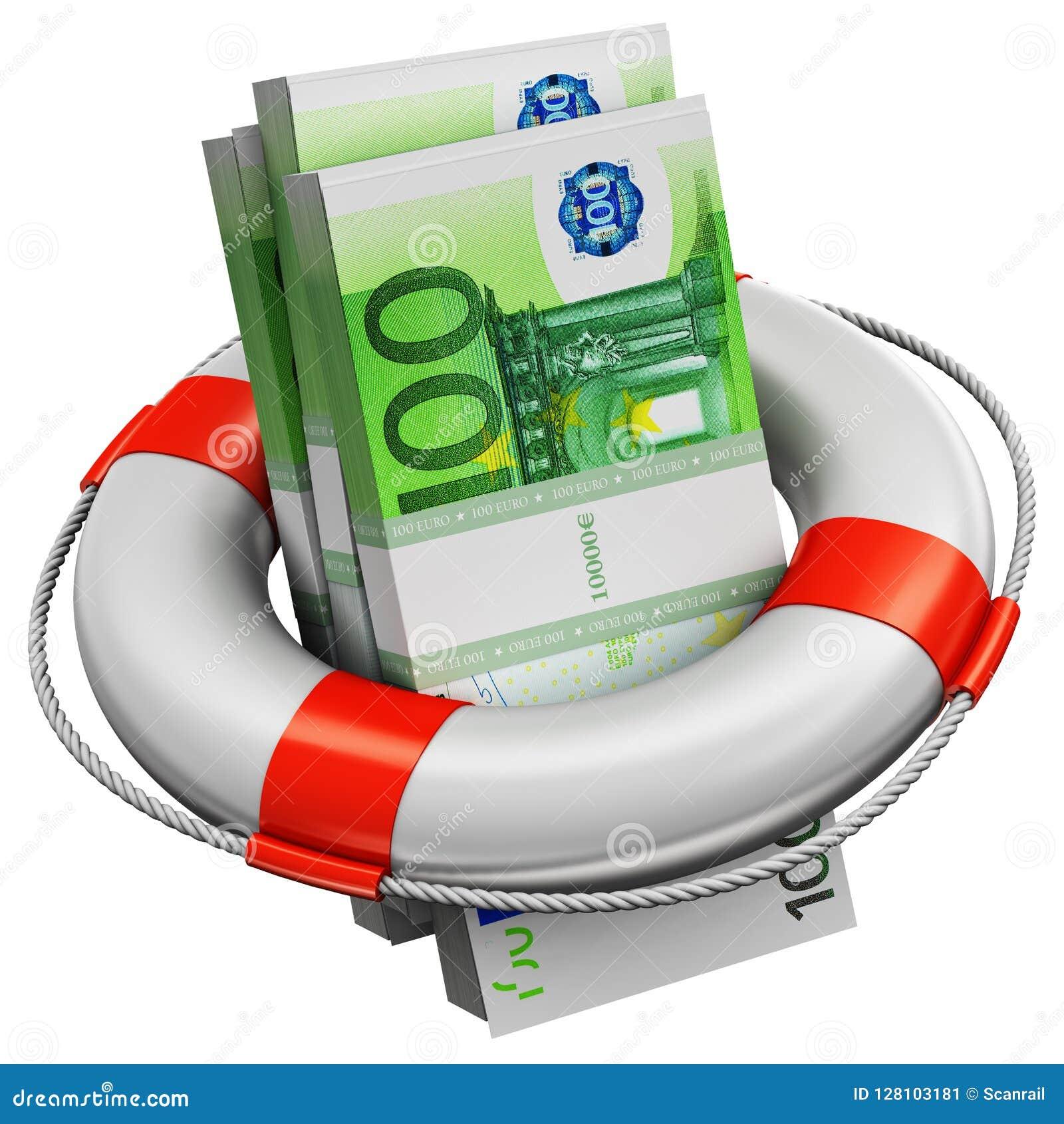 Pliki 100 Euro pieniędzy banknotów w ratowniku pocieszają