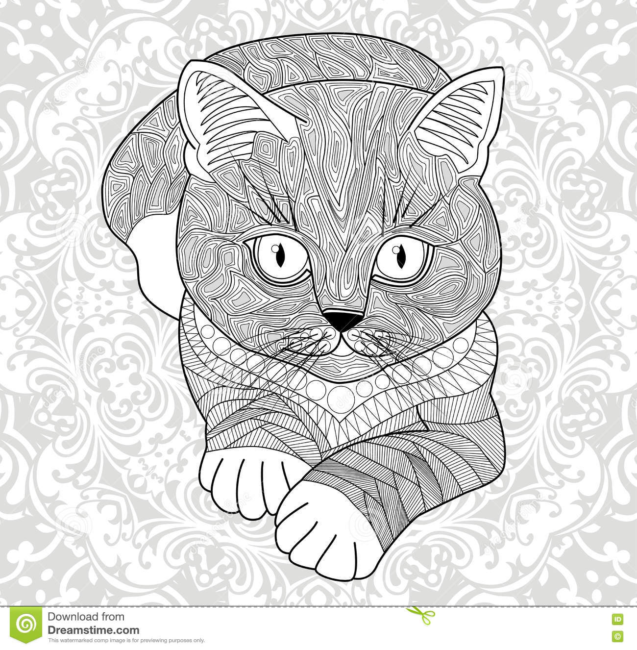 Coloring pages for adults abstract - Coloring Pages For Adults Hand Painted Cat With