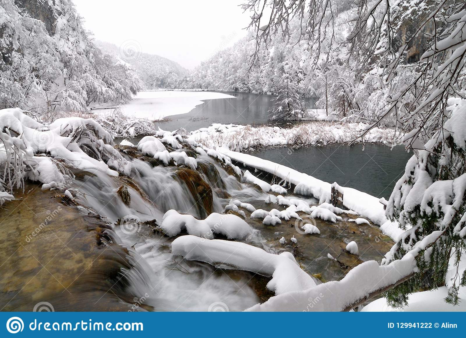 Plitvice Lakes In Winter Stock Photo Image Of White 129941222