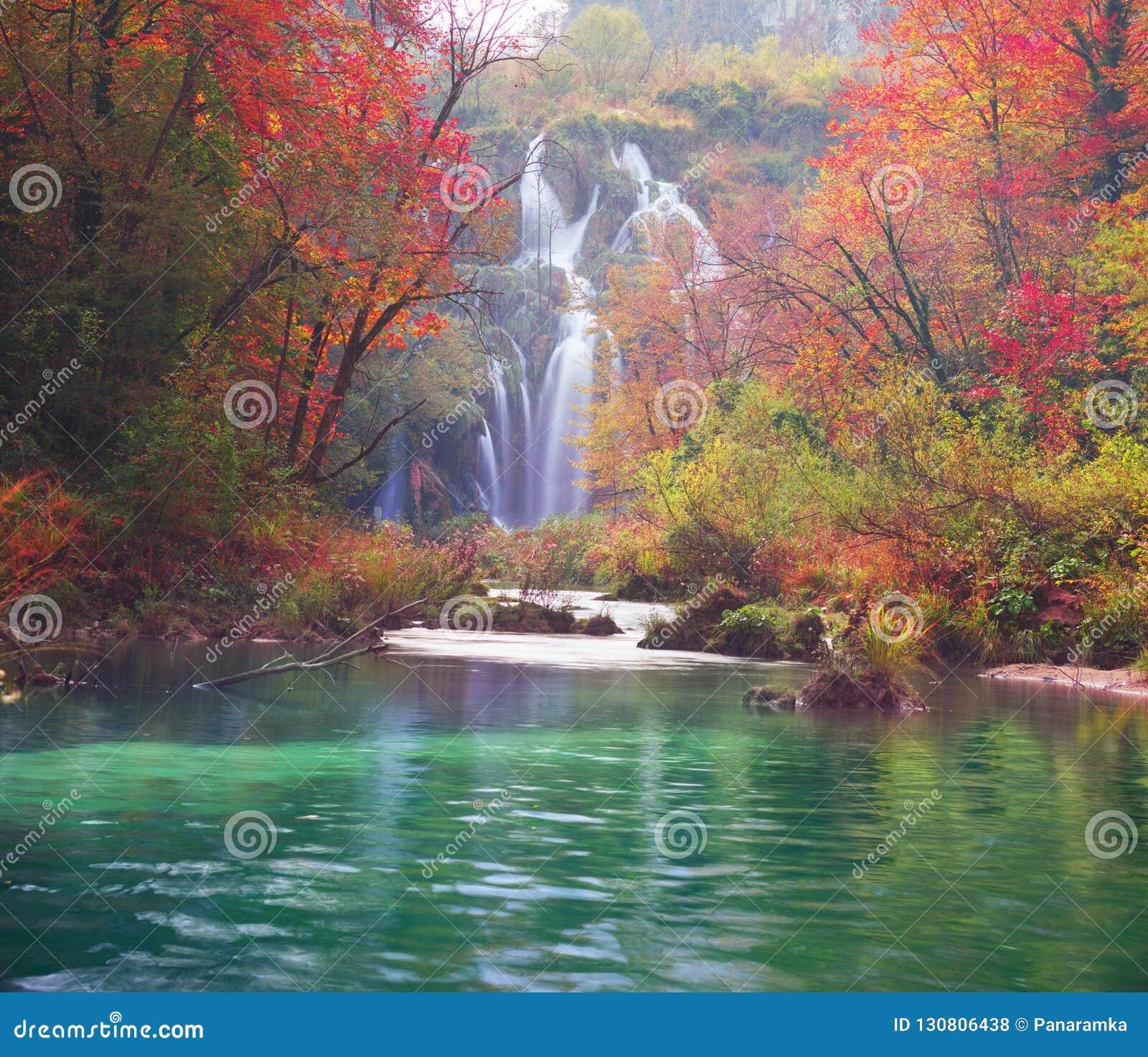 Plitvice waterfalls in the fall