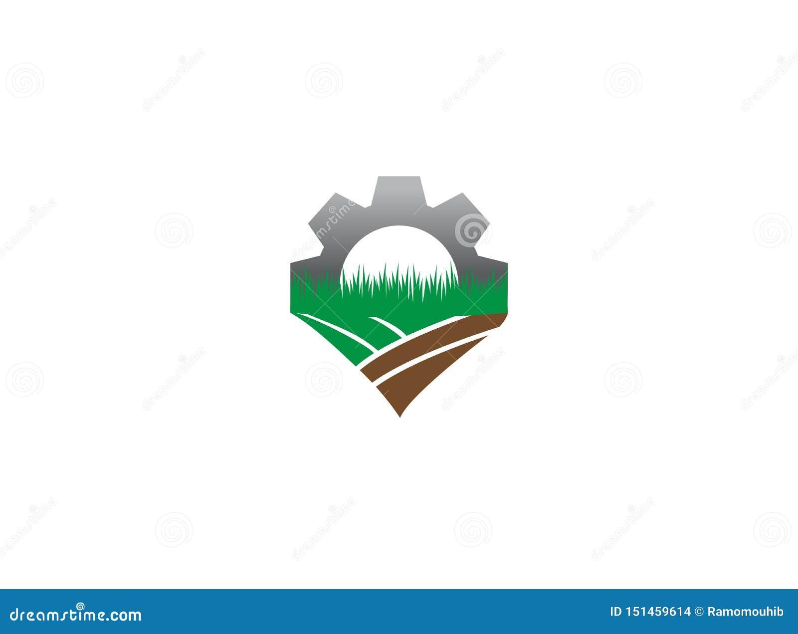 Ploeg de grondtoestel de landbouwinstallaties voor het ontwerp van de embleemillustratie