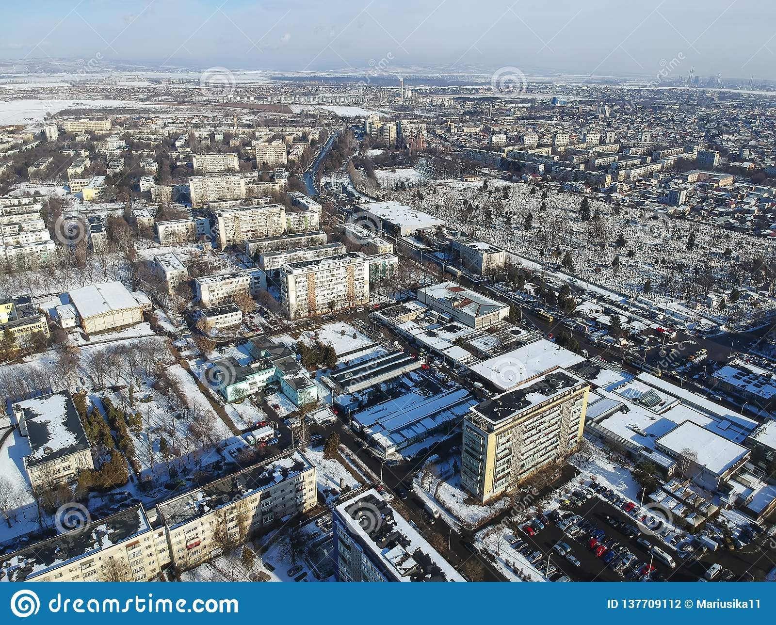 Ploiesti City, Romania, East District, aerial view
