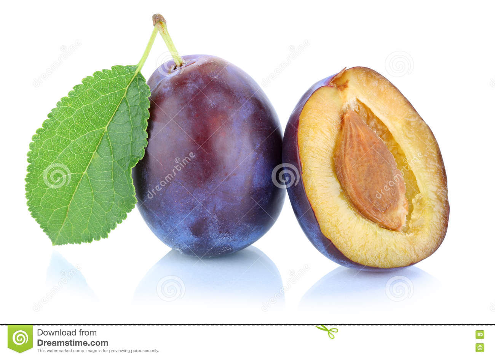 Plommonplommonkatrinplommoner beskär ny frukt som isoleras på vit