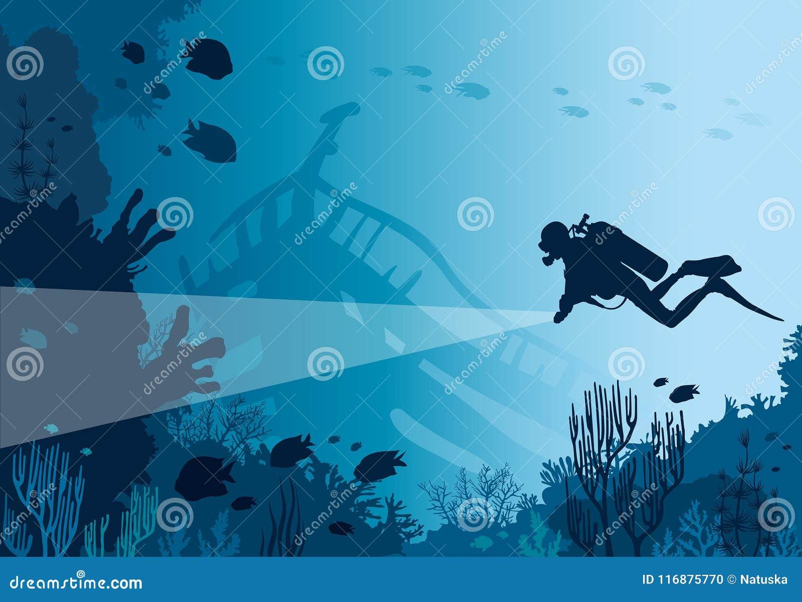 Plongeur autonome, récif coralien, mer